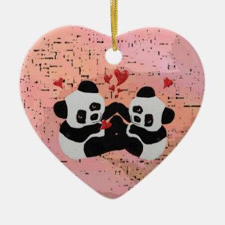 Corações preciosos da panda ornamento de cerâmica coração