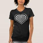 Corações pretos & brancos bonitos t-shirt