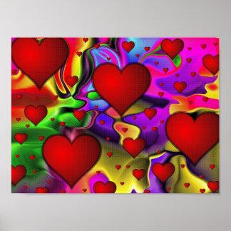 Corações psicadélicos poster