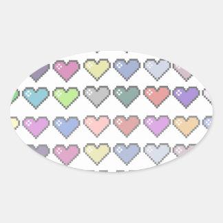Corações retros adesivo oval