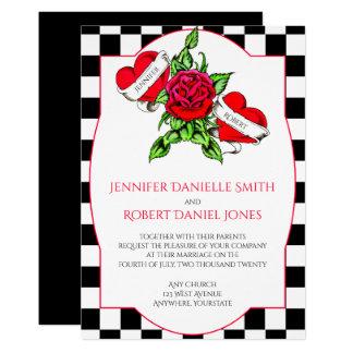 Corações Rockabilly e convite cor-de-rosa do