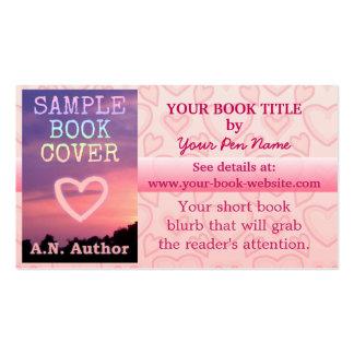 Corações romances do rosa da promoção do livro do cartão de visita