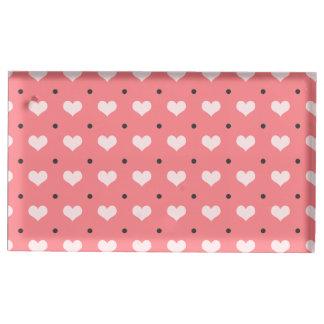 corações rosas vermelha pastel, teste padrão de suportes para cartões de mesa