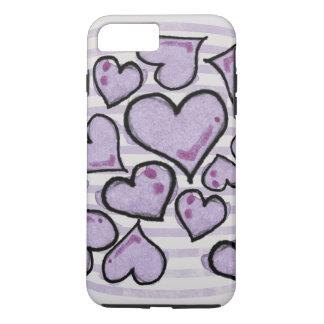 Corações roxos da aguarela capa iPhone 7 plus