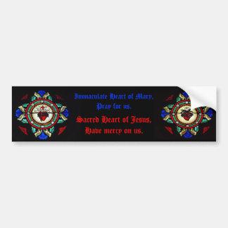 Corações sagrados do pára-choque do vitral de Jesu Adesivo Para Carro