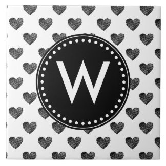 Corações scribbled preto azulejo
