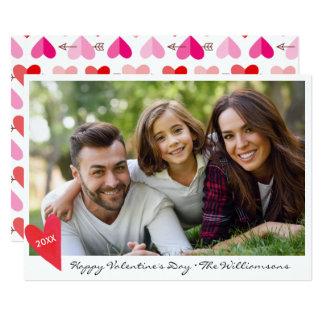 Corações & seta da foto de família do feliz dia convite 12.7 x 17.78cm