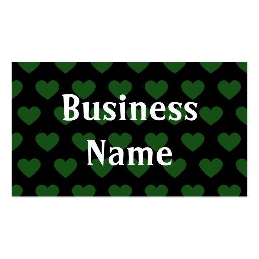 Corações verde-claro das bolinhas (fundo preto) modelo cartões de visitas