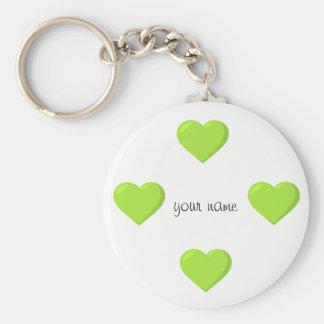 """Corações verdes de Emoji e '' seu nome aqui """" Chaveiro"""