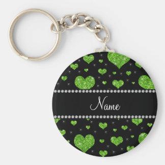 Corações verdes de néon conhecidos personalizados  chaveiro