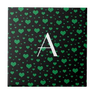 Corações verdes pretos do monograma azulejo