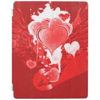 Corações vermelhos com asas capa smart para iPad