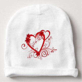corações vermelhos do amor do vetor bonito com gorro para bebê
