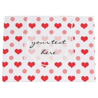 corações vermelhos do amor, teste padrão de sacola para presentes grande