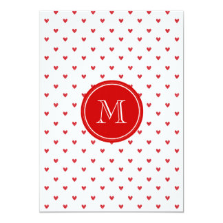 Corações vermelhos do brilho com monograma convite personalizados
