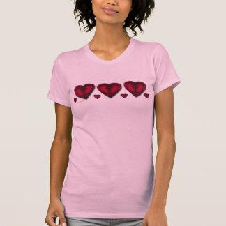 Corações vermelhos do cetim camiseta