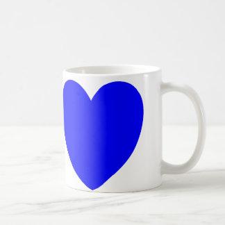 Corações vermelhos e azuis, impressão da arte caneca de café