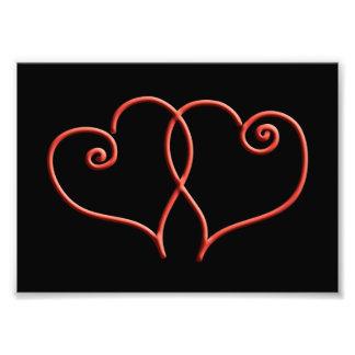 Corações vermelhos e pretos do redemoinho dos impressão de foto
