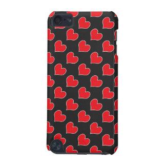 Corações vermelhos na capa do ipod touch preta do