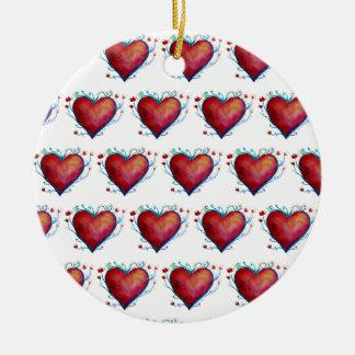Corações vermelhos, ornamento dos namorados