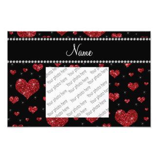 Corações vermelhos pretos conhecidos personalizado impressão fotográfica