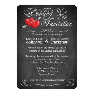 Corações Wedding do amor de |, quadro dos rolos | Convite 12.7 X 17.78cm