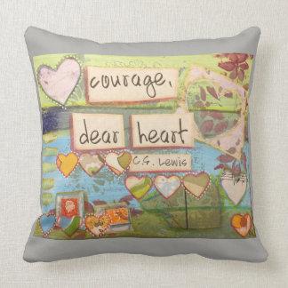 coragem, caro travesseiro do coração almofada