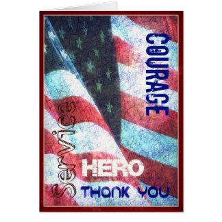 Coragem - herói - obrigado cartão do dia de