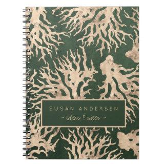 Corais cor-de-rosa do ouro do abacate verde cadernos