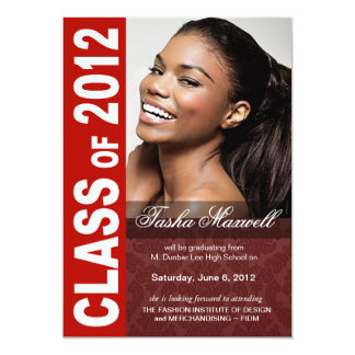 Corajoso, anúncio 2012 da foto da graduação do convite 12.7 x 17.78cm