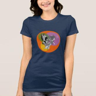 Corajoso azul escuro feminino dos desenhos camiseta