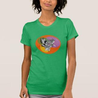 Corajoso brilhante verde feminino dos desenhos camiseta