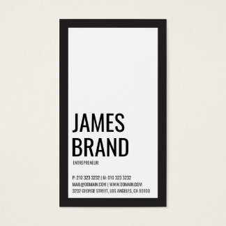 Corajoso minimalista preto e branco cartão de visitas