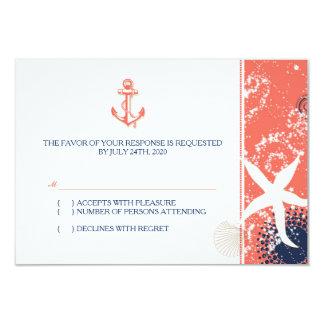 Coral, azul marinho, RSVP Wedding náutico branco Convite 8.89 X 12.7cm