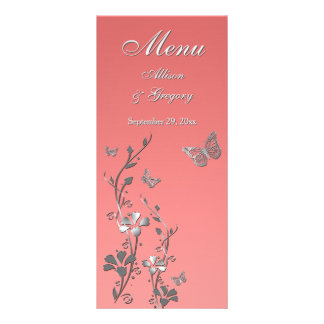 Coral, cartão floral do menu da borboleta das