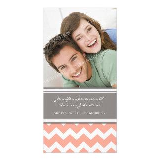 Coral Chevron do cartão com fotos do anúncio do no Cartão Com Foto