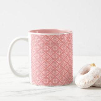 Coral da caneca de café de dois tons/design branco