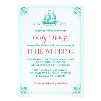 Coral da cerceta do convite do casamento da âncora