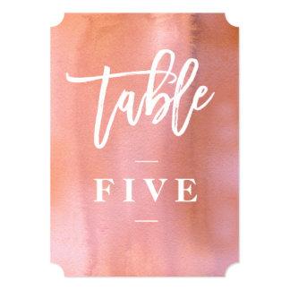 Coral, número cor-de-rosa da mesa do casamento da convite 12.7 x 17.78cm