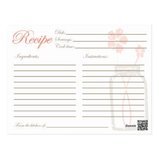 Coral rústico do cartão do chá da receita do cartões postais