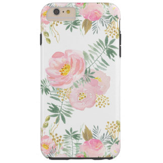 Coram o rosa e as flores da aguarela do ouro capa tough para iPhone 6 plus