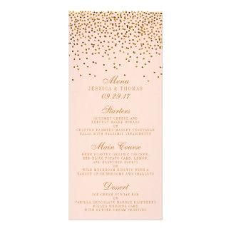 Coram o rosa & o menu do casamento dos confetes do 10.16 x 22.86cm panfleto