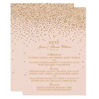 Coram o rosa & o menu do casamento dos confetes do convite 11.30 x 15.87cm