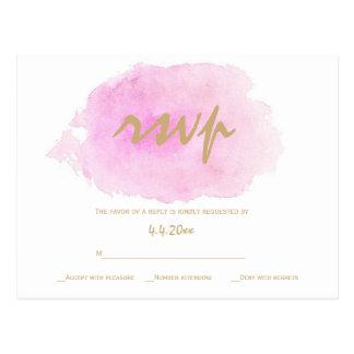 Coram o rosa & os cartões do rsvp do casamento do cartão postal