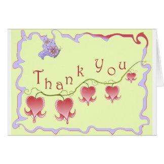 Coram os cartões de agradecimentos cor-de-rosa do
