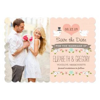 Coram os pássaros do amor que Wedding economias o Convite 12.7 X 17.78cm