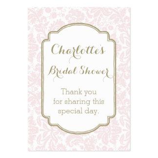 Coram os Tag cor-de-rosa do favor do chá de panela Cartão De Visita Grande