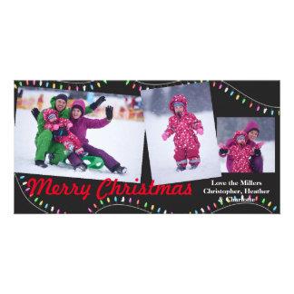 Corda das luzes - cartões de fotos do Natal do
