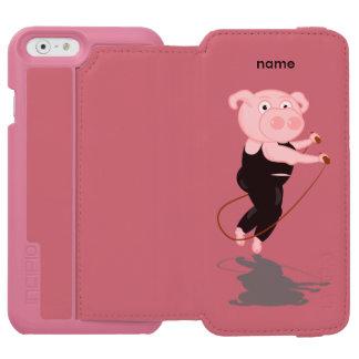 Corda de salto gorda do porco capa carteira incipio watson™ para iPhone 6