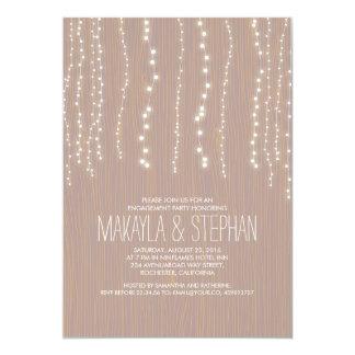 Corda rústica bonito da festa de noivado das luzes convite 12.7 x 17.78cm